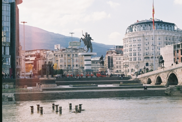 Macedonia Square from the otherside with Alexander the Great statue [Skopje, 2017] by Valentina Orlando