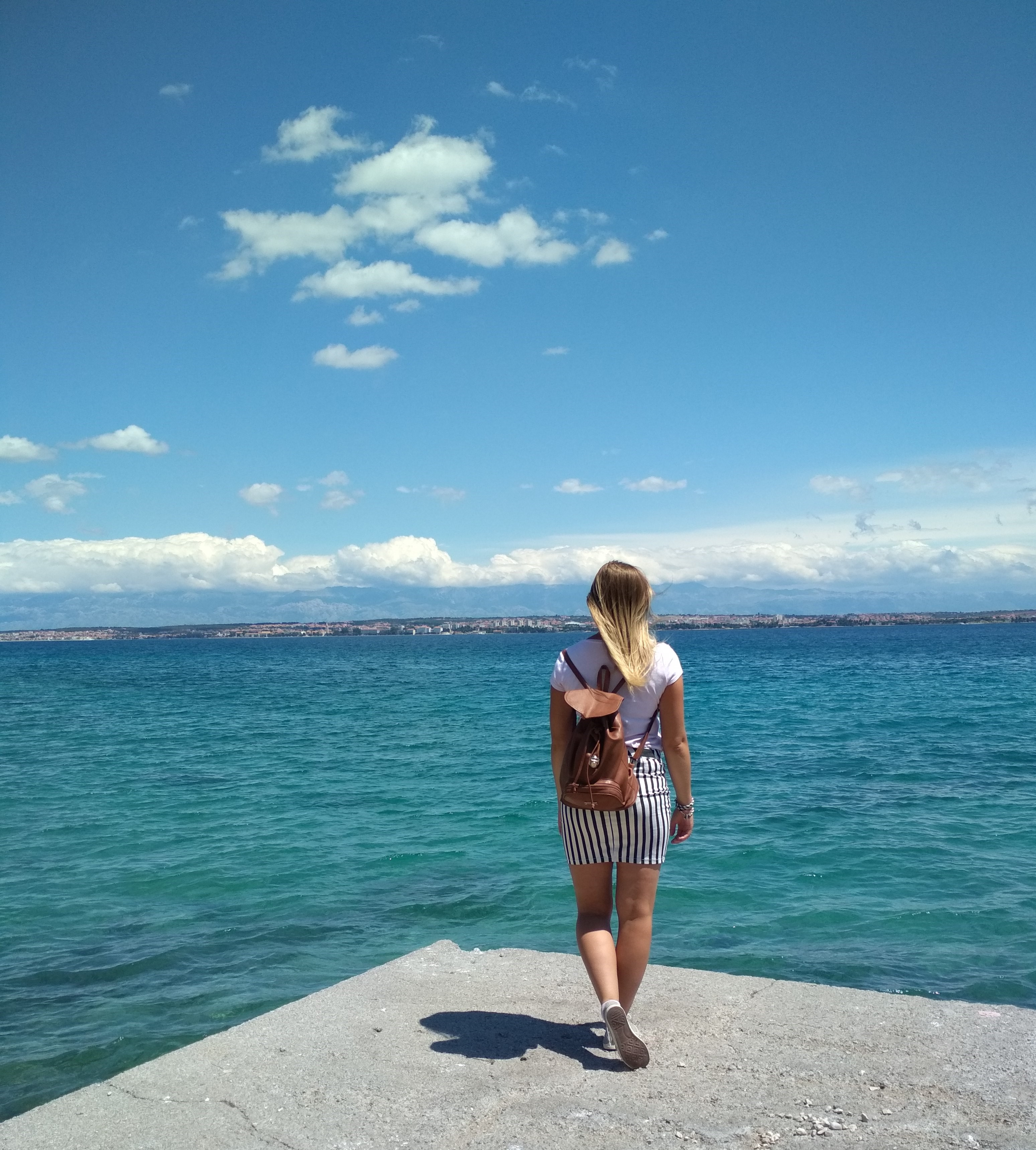 Agnieszka walking around Ugljan island in Croatia, a Balkan country