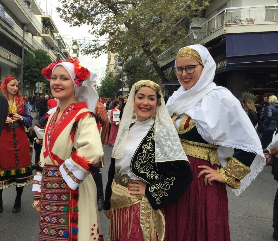 Wearing traditional clothing on Oxi Day (28 October)
