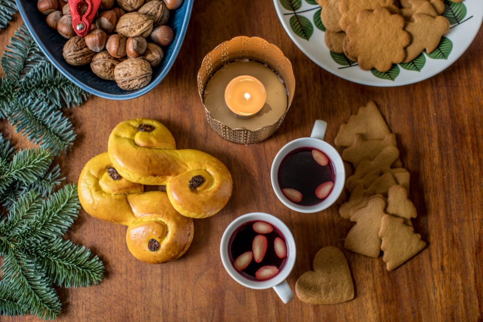 Saffron buns, glögg and gingerbread cookies from Sweden