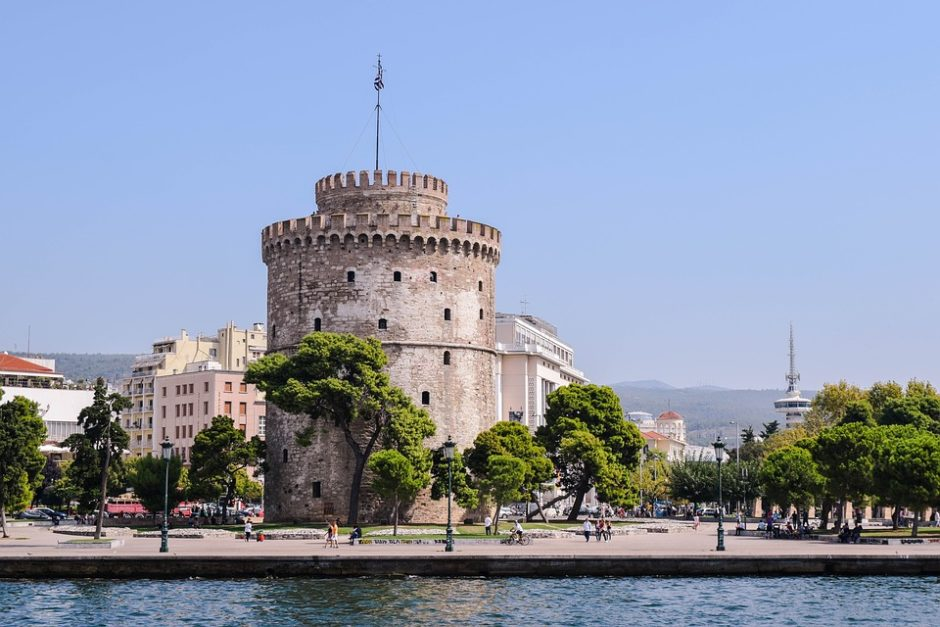 The White Tower of Thessaloniki, Greece, positioned alongside the renewed waterfront