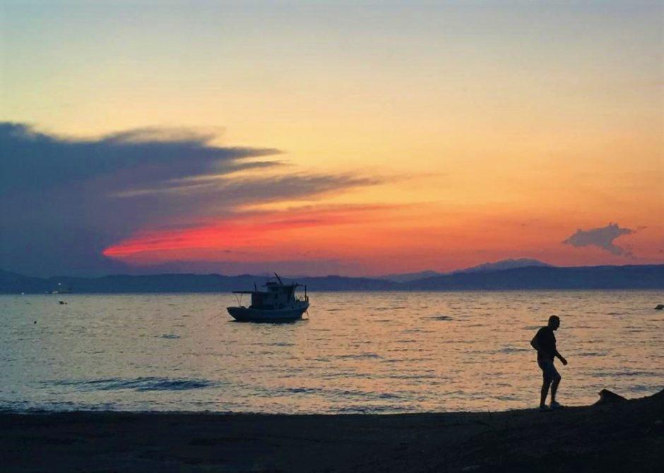 Sunset in Prinos port