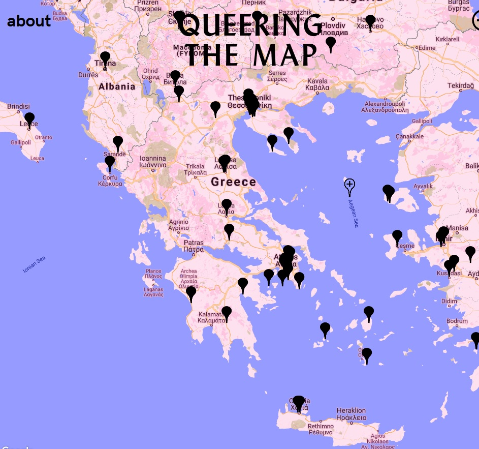 A map of Greece from the website Queering the Map