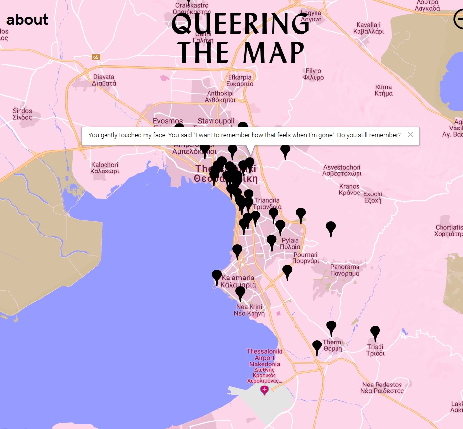 A map of Thessaloniki from the website Queering the Map