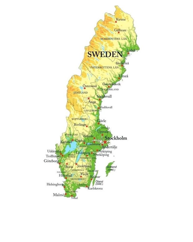 The map of Sweden on a white background