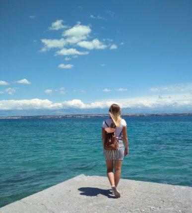 Agnieszka walking in Zadar, Croatia