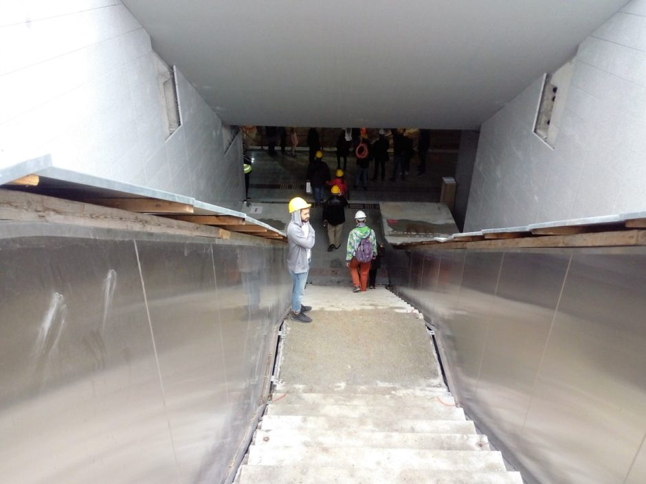 The stairs that descend into the Efklidi metro station in Thessaloniki, Greece