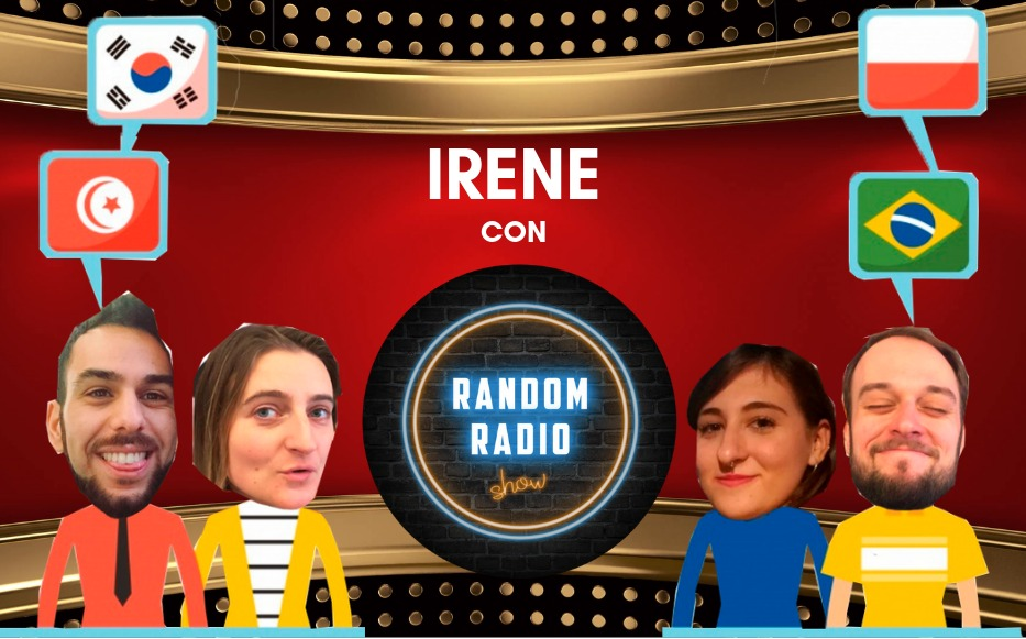 The presenters of Random Radio Show and Irene con Amigos, surrounded by flags