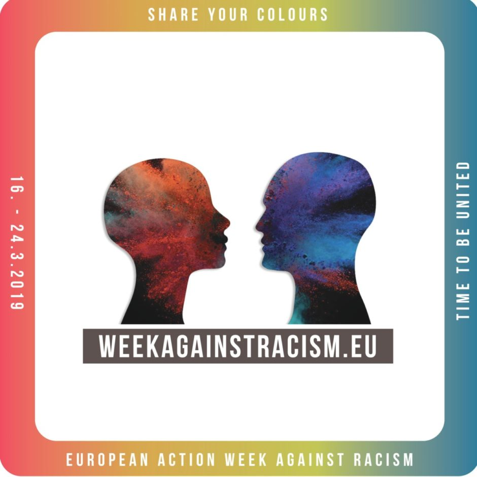 "Promotion sticker for the Week against Racism, showing two silhouettes facing each other. Text says ""Share your colors, time to be united, European Week Against Racism, 16-24.3.2019"""