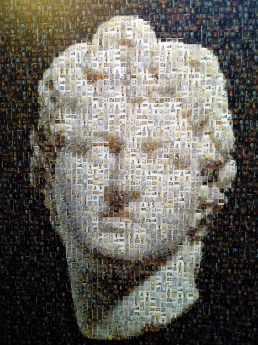 Female head of an ancient Greek marble statue, made up by small pictures of archaeological findings