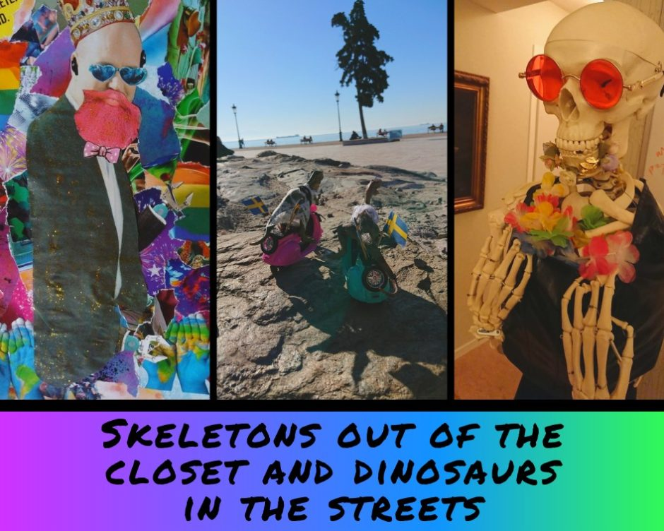 Image of collage, two plastic dinosaurs on scooters and a dressed up skeleton with the text: Skeletons out of the closet and dinosaurs in the street