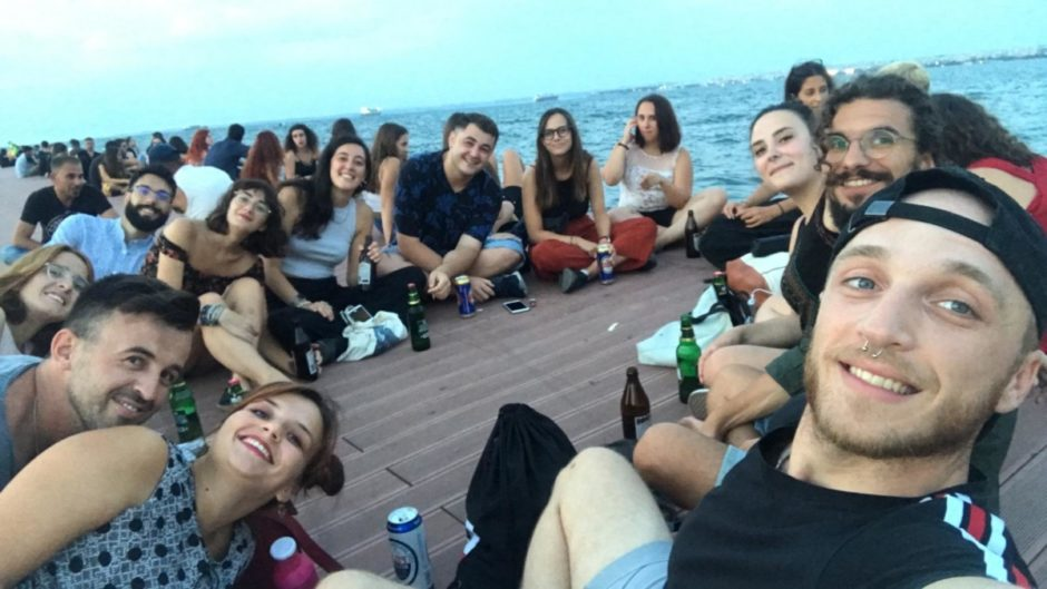 Group of people enjoying the evening at the old port of Thessaloniki