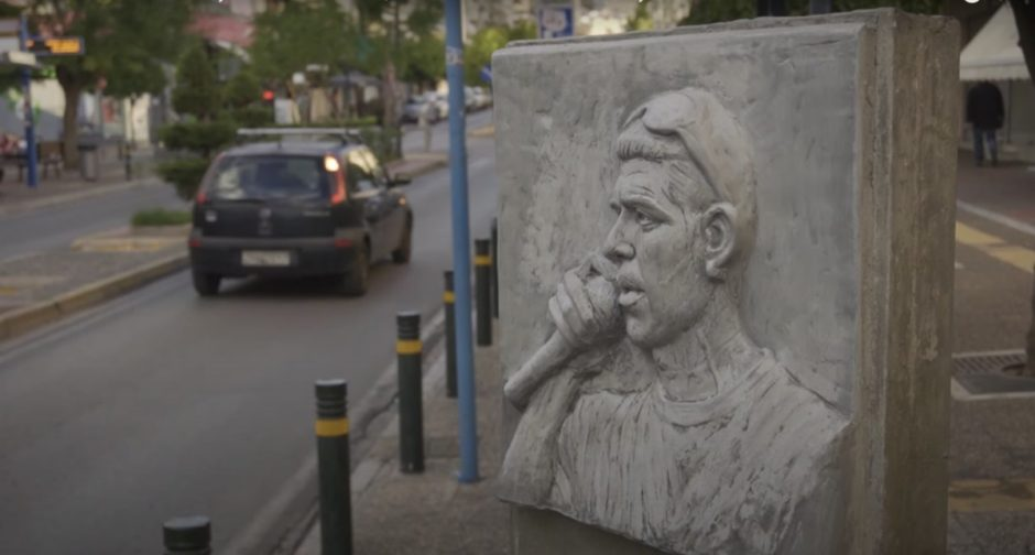Pavlos Fyssas statue in Keratsini, Athens