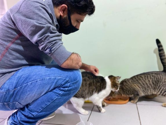 Khuram with cats